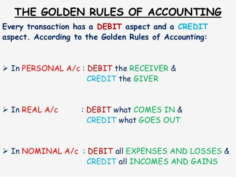 3 golden rules of accountancy 1 what are the three golden rules of accounting real accounting: dr - what comes in cr - what goes out examples of this kind of transaction include cash/bank and rent.